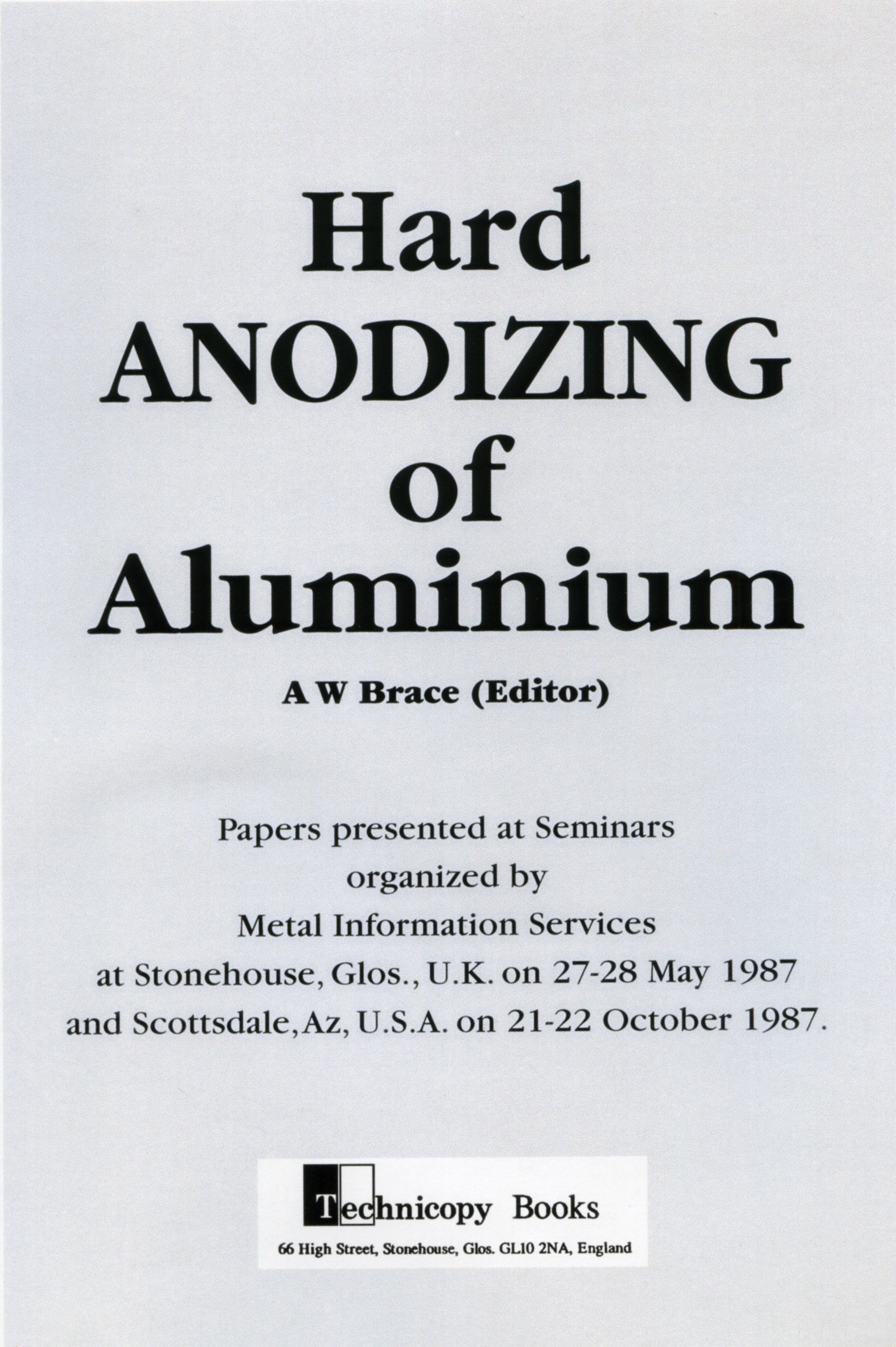 Hard Anodizing of Aluminium